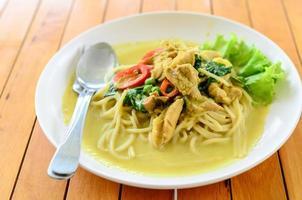 spaghetti groene curry op tafel.