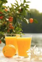 twee glazen sinaasappelsap op witte tafel in de buurt van de zee