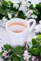 kopje groene thee en bloesem foto