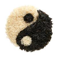 zwart-witte rijst in de vorm van karma-symbool foto