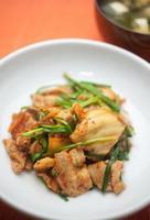 Japanse keuken buta-kimchi (varkensvlees en een kimchi) foto