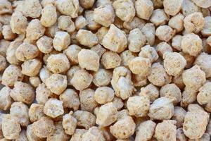 bovenaanzicht close-up van getextureerde plantaardige eiwitten