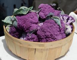 paarse bloemkool op een boerenmarkt (gewas) foto