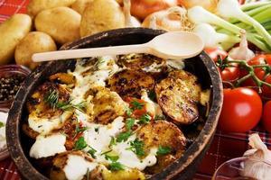 geroosterde dan gebakken aardappel foto