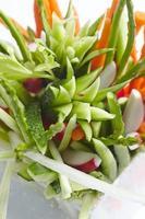 voorgerecht van groenten, snijden, asperges, wortels, radijs,