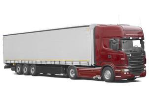 rode vrachtwagen met oplegger foto