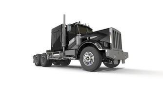3d zwarte vrachtwagen die op wit wordt geïsoleerd foto