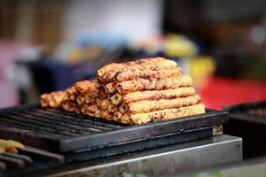 Indiase Aziatische kip tikka shish kofta kebab in specerijen barbecue foto