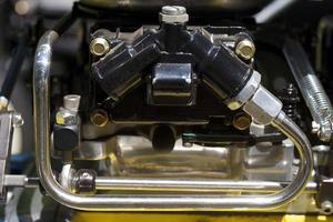 carburateur op een motor gebruikt in een hot rod special foto
