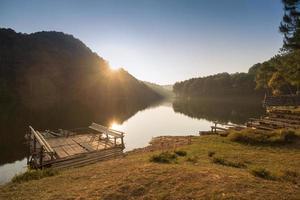 zonsondergang tegen meer en dennenbos.