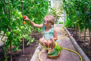 klein meisje verzamelen van komkommers en tomaten in kas