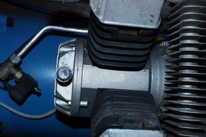 blauwe machinemotor foto