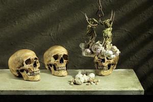 drie menselijke schedels knoflook foto