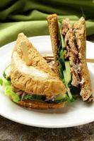 tonijn sandwich met komkommer en sla foto