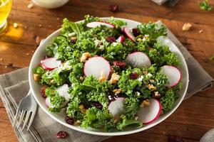 gezonde rauwe boerenkool en cranberrysalade foto