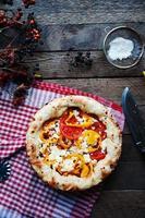 plantaardige ragout, plantaardige braadpan met tomaat, voedsel close-up. foto