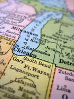 antieke kaart Lake Michigan foto