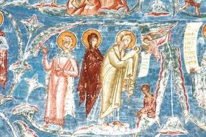 jezus christus geboorte - fresco schilderij (roemenië) foto
