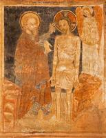 stitnik - middeleeuws fresco van de doop van Christus foto