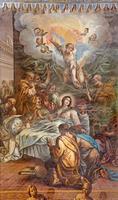 granada - de slaapzaal van het maagd Maria-fresco foto
