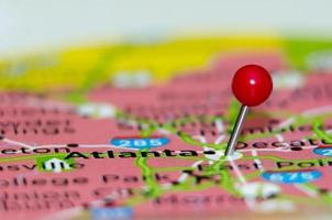 atlanta city pin op de kaart foto