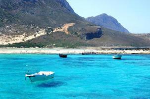 prachtige turquoise zee en boot foto
