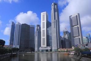 singapore skyline dag foto