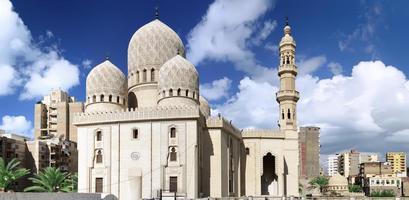 moskee van abu el abbas masjid, alexandrië, egypte. foto