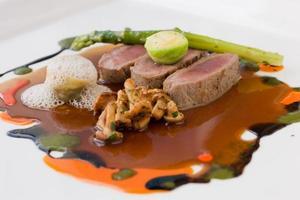 moleculaire keuken van lamsvlees foto