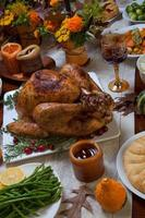 rustieke thanksgiving diner foto