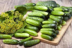 stapel komkommer op het bord voor de conservenindustrie foto