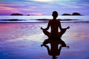 blauwe yoga achtergrond foto
