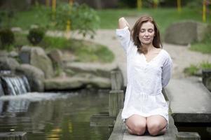 yoga in de natuur foto