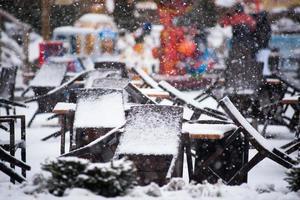 gesloten restaurant in de winter foto