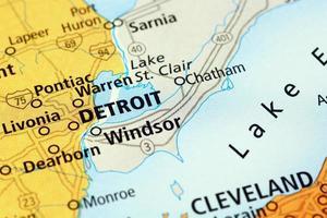 Detroit gebied op een kaart