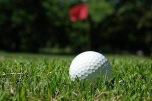 witte golfbal op groen gras - voorraadbeeld foto