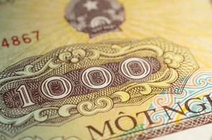 bankbiljet in duizend Vietnamese dong dichte omhooggaand
