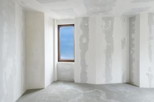 onafgewerkt gebouw interieur, witte kamer (inclusief uitknippad) foto
