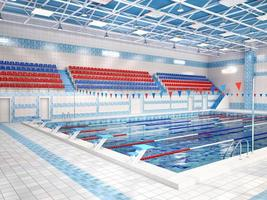 illustratie van interieur van openbaar zwembad.