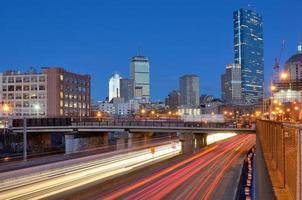 skyline van Boston vanaf Harborwalk foto