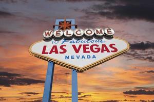 Las Vegas welkom bord met zonsopgang hemel foto