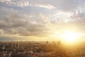 bangkok zonsondergang, bangkok stad, bangkok thailand, zonsondergang foto