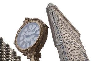 vijfde avenue klok en flatiron gebouw foto
