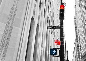 Wall Street verkeersbord en verkeerslichten foto