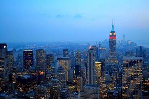 Manhattan nacht uitzicht foto