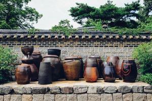 traditionele aarden potten, Korea foto