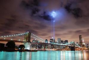 New York City skyline panorama's nachts foto