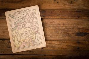 1867, kleurenkaart van midden (verenigde) staten, met kopie ruimte foto