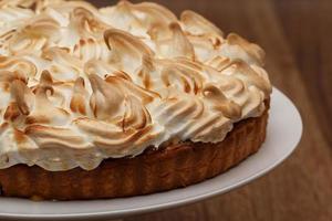 citroen meringue taart close-up foto