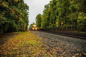 rijdende trein in de herfst